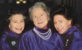 queen elizabeth posing purple